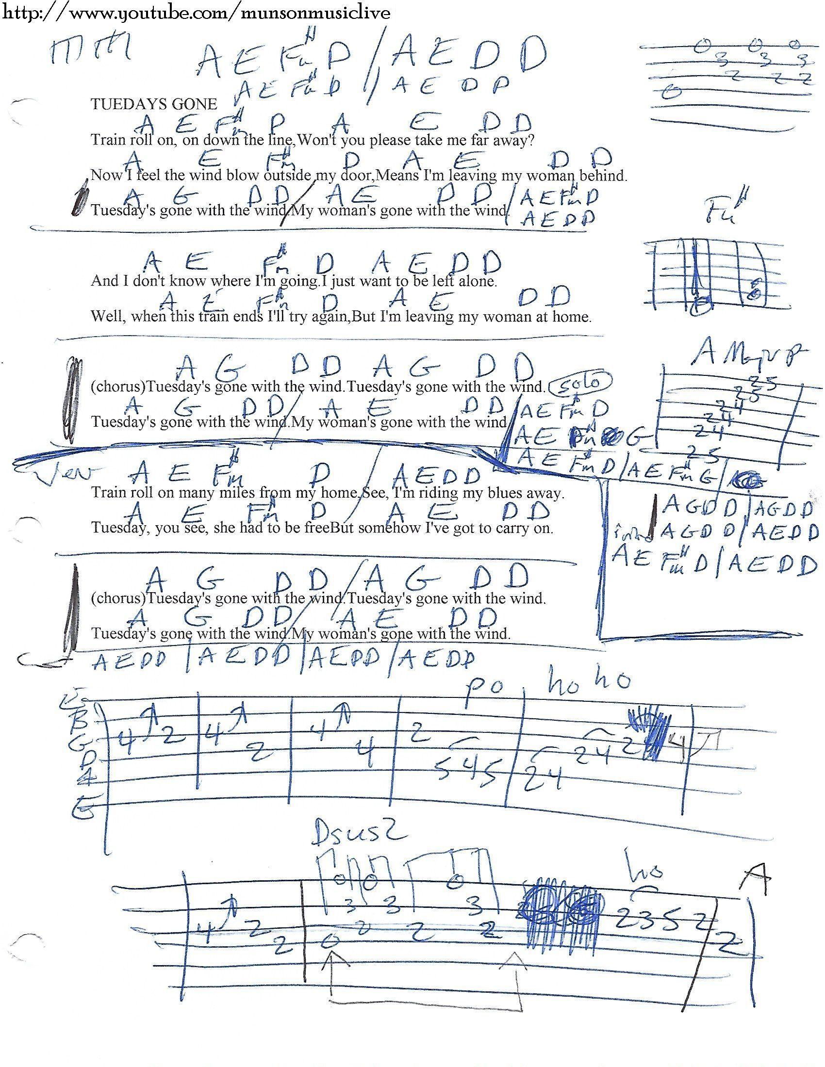 Tuesdays Gone Lynyrd Skynyrd Guitar Chord Chart Learn To Sing
