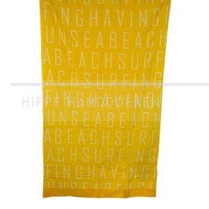 Strandlaken Zon en Zee: Prachtige kwaliteit velours/badstof strandlaken van een ruim formaat, de kleur is zonnig geel met witte letters