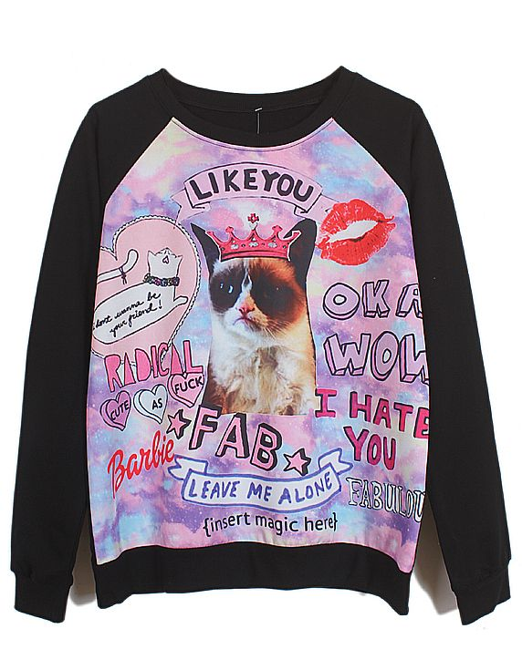 Black Long Sleeve Cat King Letters Print Sweatshirt US$27.87