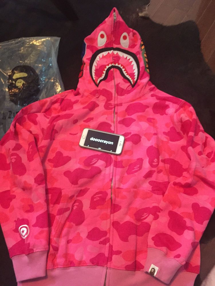 Bape Camo shark hoodie pink US Size Medium in 2019  c0b37f651
