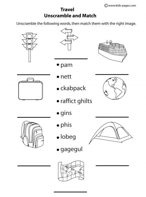 Travel - Unscramble B&W worksheets | Travelling with Kids ...