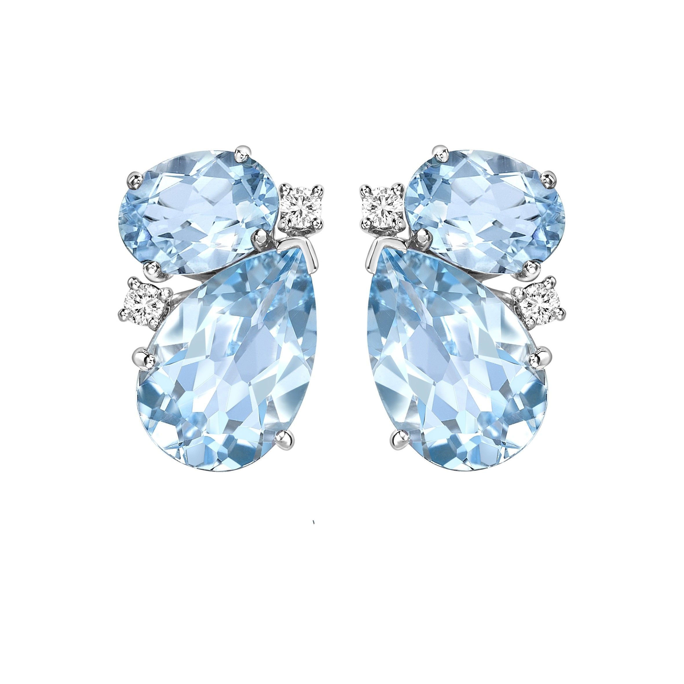Kiki McDonough Blue Topaz and Diamond Pear and Oval Studs Earrings