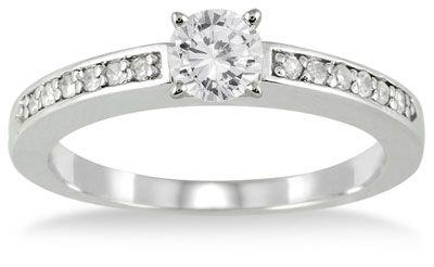 ApplesofGold.com - 1/2 Carat Diamond Engagement Ring, 10K White Gold Wedding Jewelry $529.00