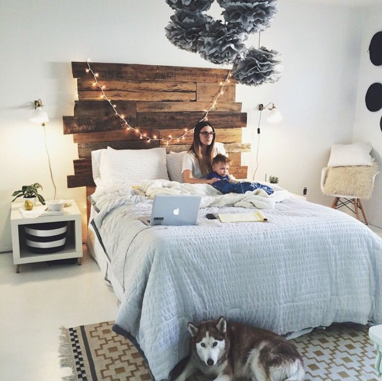 Wood Headboard String Lights Farmhouse Style And Neutral Colors Bedroom Design Home Decor Inspo