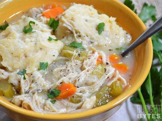 Slow Cooker Chicken & Dumplings #chickendumplingscrockpot Slow Cooker Chicken and Dumplings - Budget Bytes #chickendumplingscrockpot