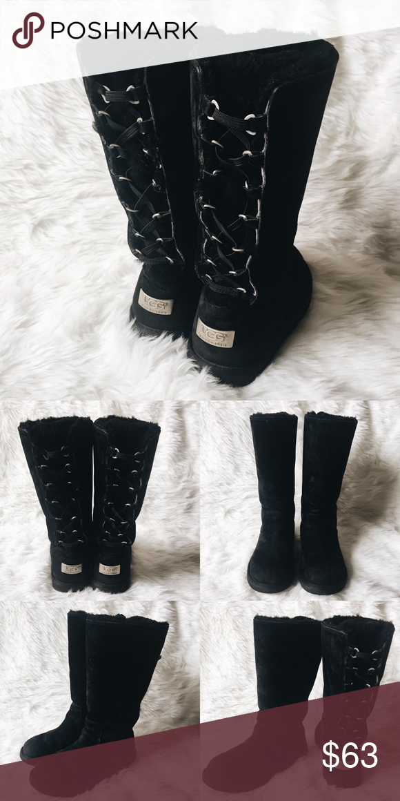 UGGS TALL BLACK LACE UP BOOTS ugg