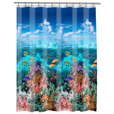 Mainstays Under The Sea Peva Shower Curtain Blue Shower Curtains Walmart Shower Curtain Curtains Walmart