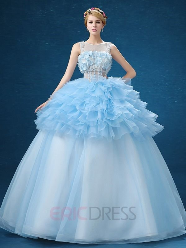 6fff0f8c041 Ericdress Bateau Neck Ball Gown Ruffles Flowers Floor-Length Quinceanera  Dress 1