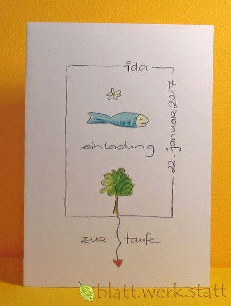 Einladungen   Einladungskarte Taufe Handgemalt Individuell   Ein  Designerstück Von Blattwerkstatt Bei DaWanda