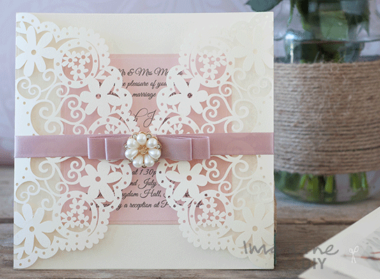 How to make arabesque dusky pink wedding stationery diy wedding elegant laser cut wedding invitation diy wedding invitation with laser cut and lace dusky junglespirit Gallery