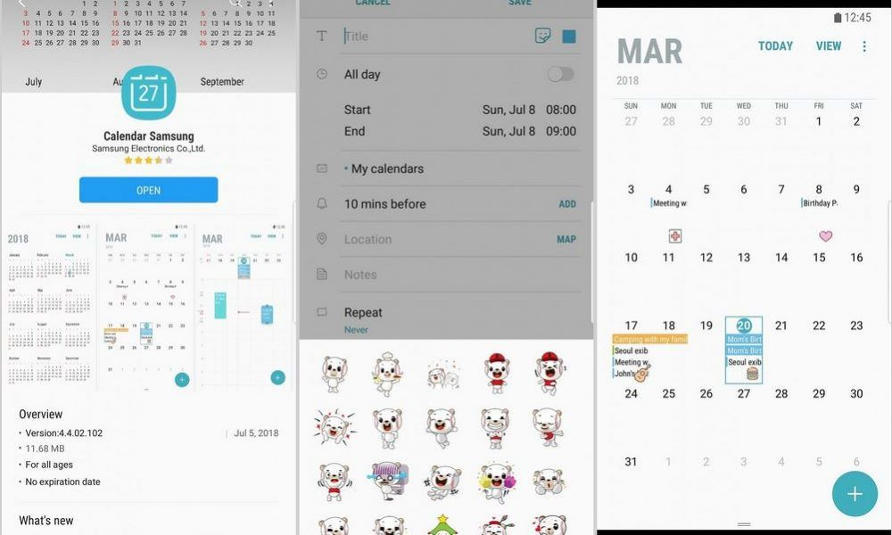 Samsung Calendar App Update Brings Stickers For The Galaxy S8 S8