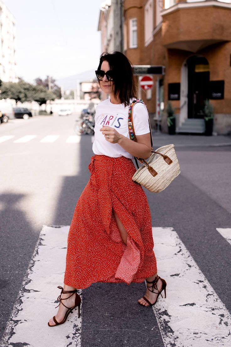 Wickelrock Stylen Mein Sommer Outfit Mit High Heels Und Shirt Casual Chic Outfit Fashion Skirt Outfits