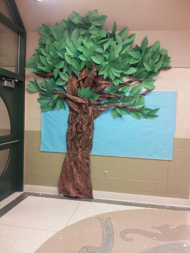 A Tree I Made Out Of Paper I Needed A Ladder To Make It I Love The Way It Came Out Paper Tree Classroom Paper Tree Classroom Tree