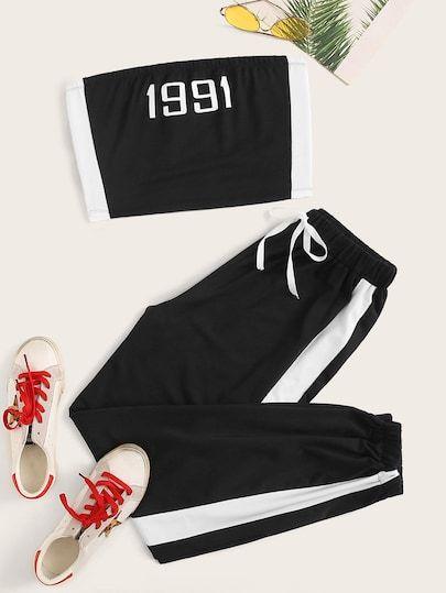 Brillar Invitación rasguño  Top tubo con estampado de letra panel en contraste con pantalones  deportivos con cordón | Moda de ropa, Ropa de moda, Ropa tumblr mujer