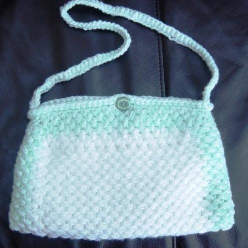 Aqua Foam Hand Crocheted and Sewn Handbag.