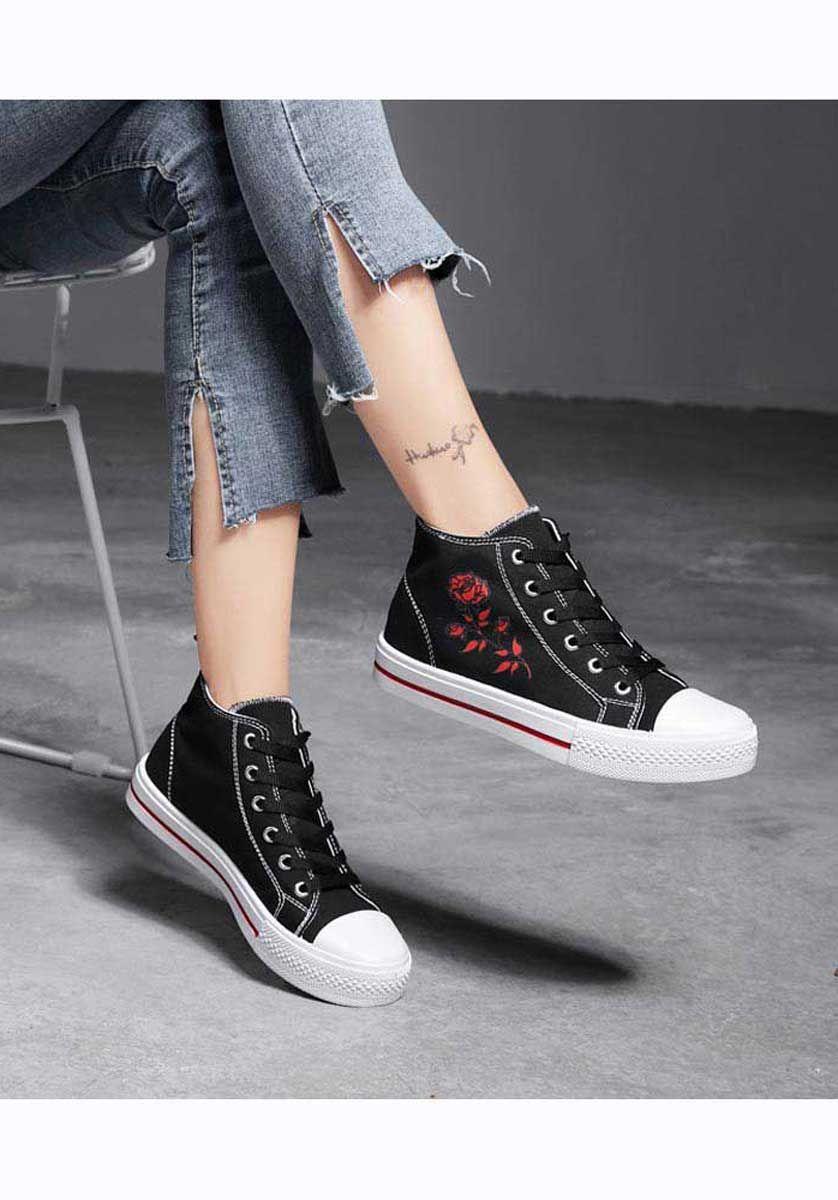 9b01287103 Women s  black canvas shoe boot  sneakers floral pattern design