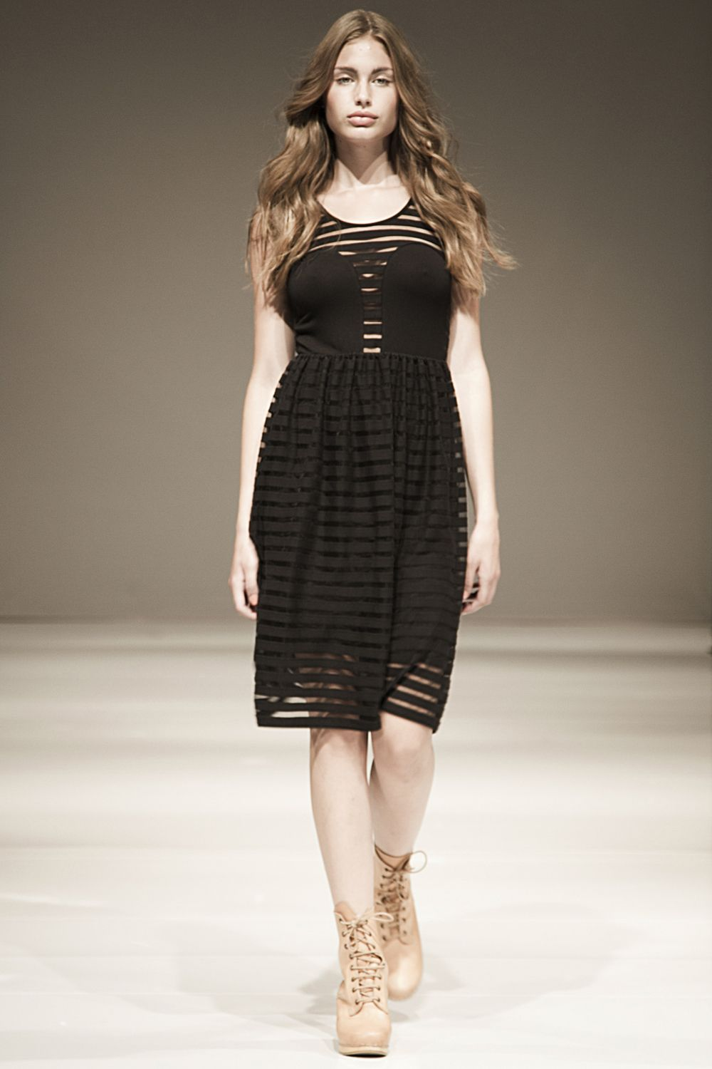 Mickey beach dress in black striped jersey by R/H