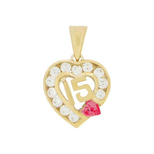 14k Yellow Gold, Heart 15 Anos Quinceanera Pendant Charm Red & White Created Jan CZ (P045-101)