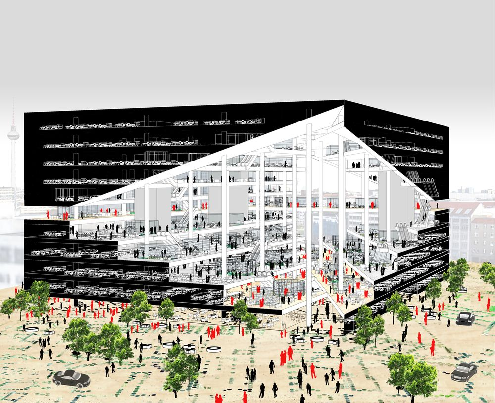 After a unanimous decision from the jury rem koolhaas of oma has the winning design for the new berlin media campus of german publishing house axel