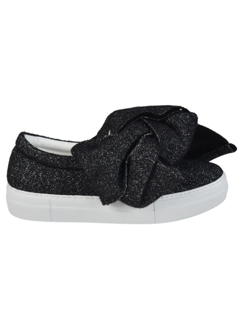 Bow shearling and leather slip-on sneakers Joshua Sanders