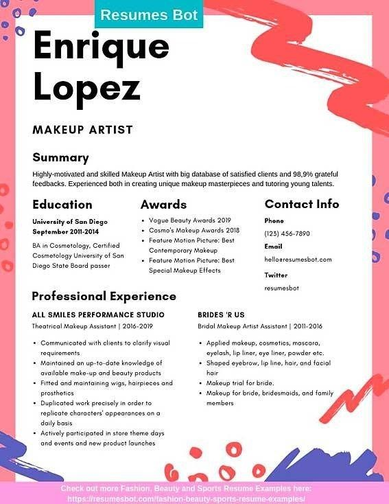 Makeup Artist Example And Tips In 2020 Makeup Artist Resume Resume Examples Artist Resume