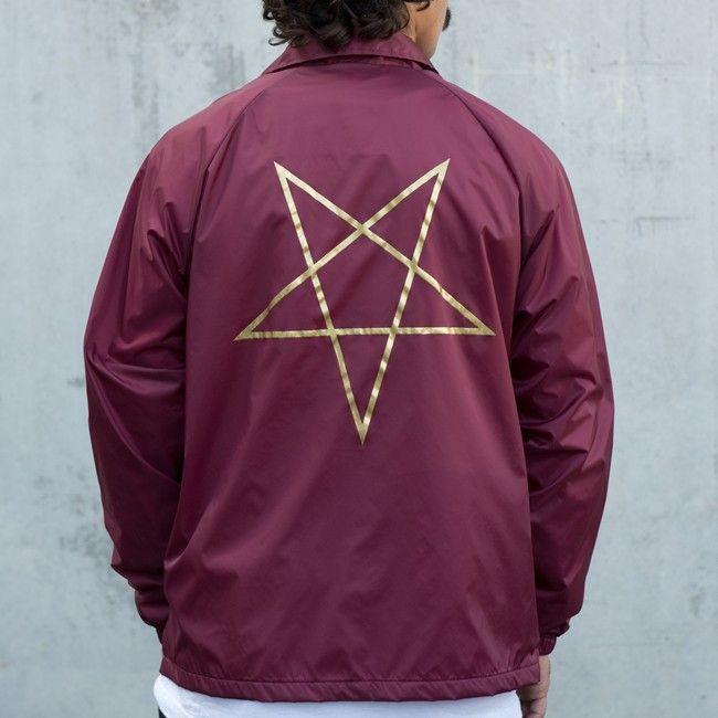 Maroon Large Thrasher Pentagram Coach Jacket