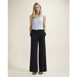 Teo Navy Wide Leg Trousers
