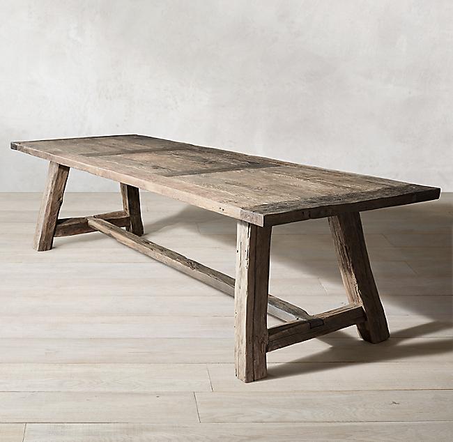 Reclaimed Rustic Oak Rectangular Dining Table Rectangular Dining