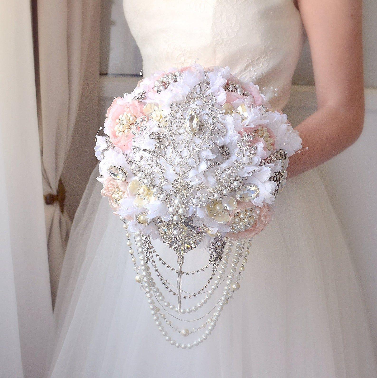 Bridal Bouquet Silk Crystal Flower Brooch Bouquet Blush Pink