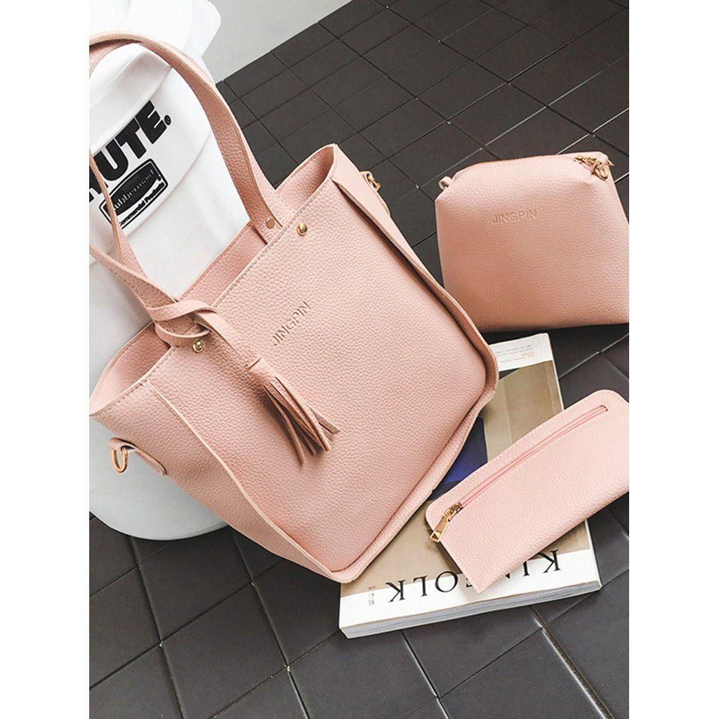 Tassel Detail Textured Bag Set 3pcs Onlineshop Style Luxury Girls Gucci Fendi Tas Louisvuit Trendy Handbags Purses Bags Designer Bag Set