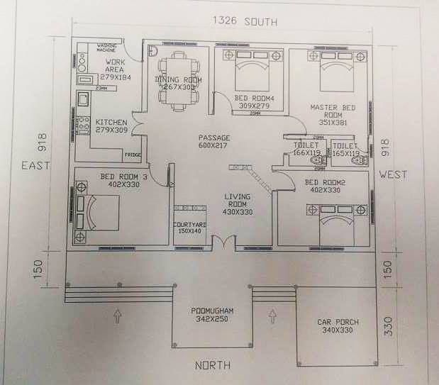 4 Bedroom Kerala Traditional South Indian House Plans With Courtyard,  Kerala Traditional House With Nadumuttam
