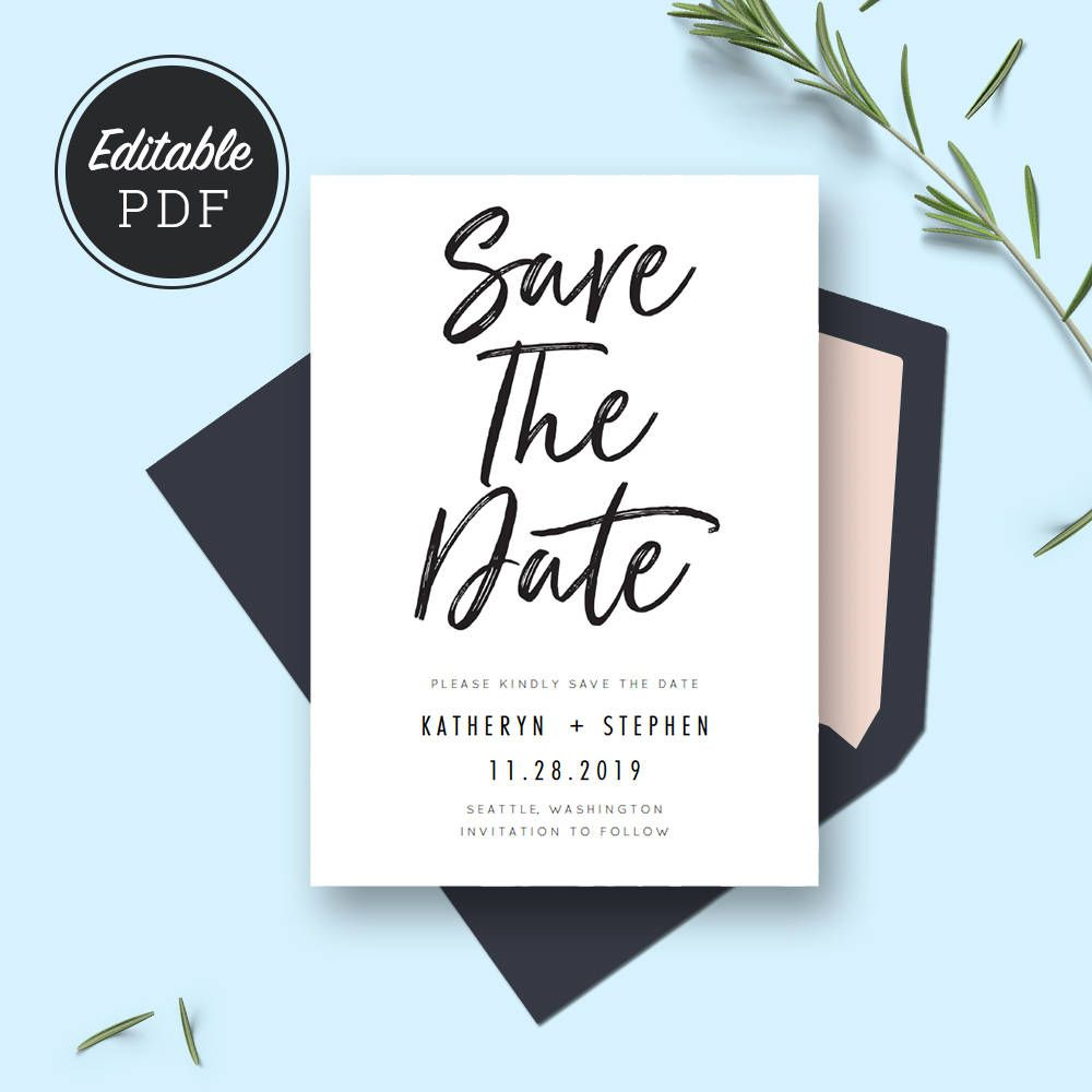 Minimal Wedding Save The Date Card Template Download Printable