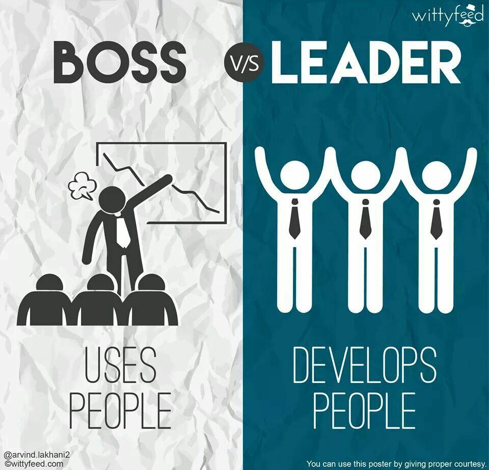 Boss Vs Leader 3 Boss Vs Leader Leadership Management Good Leadership Skills