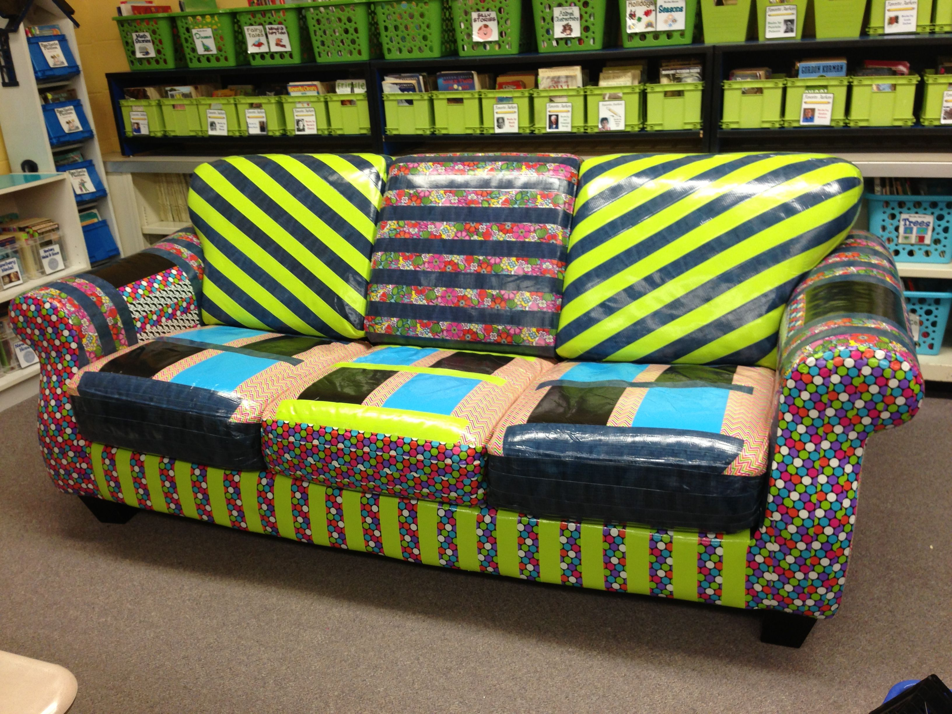 Students love the duct tape couch in my fifth grade classroom library.
