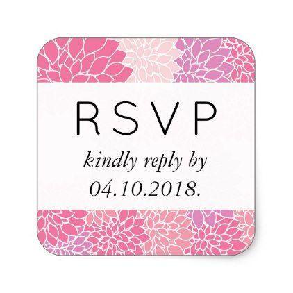 Rsvp dahlia flowers blossoms pink purple square sticker wedding stickers unique design cool
