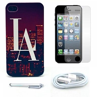 los vogue uitzicht stad patroon harde case en screen protector en stylus en kabel voor iPhone 4 / 4s – EUR € 5.51