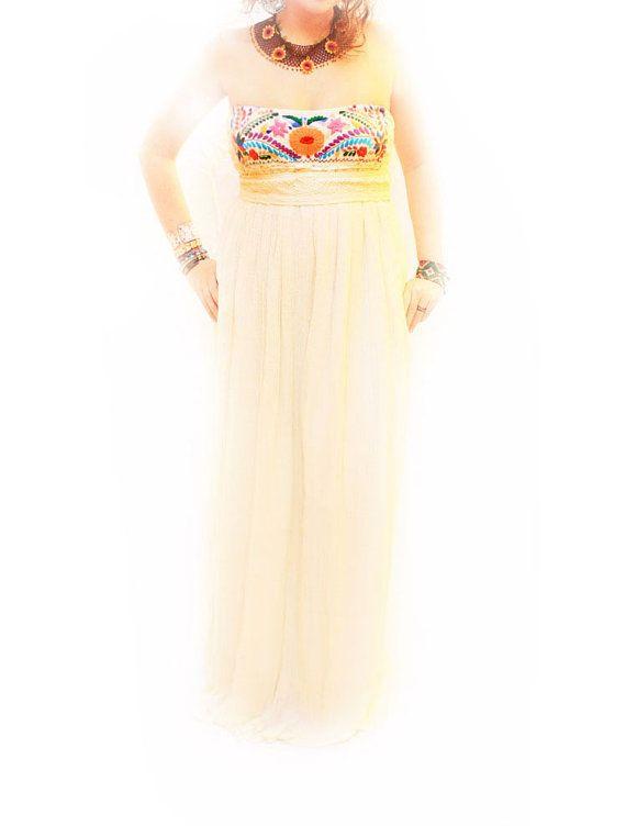Querubin de Colores Mexican embroidered Maxi dress by AidaCoronado, $280.00