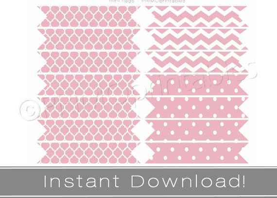 printable straw flags instant download pink party decor printables