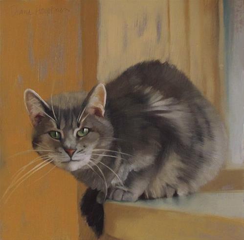 """""""Rex, une nouvelle peinture de chat"""" fine art original par Diane Hoeptner"""