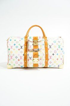 Louis Vuitton Murakami Monogram Canvas Limited Edition Keepall 45 Luggage  Carry-on Duffle Travel Gym White Multicolore Travel Bag  1 334dc809cfff9
