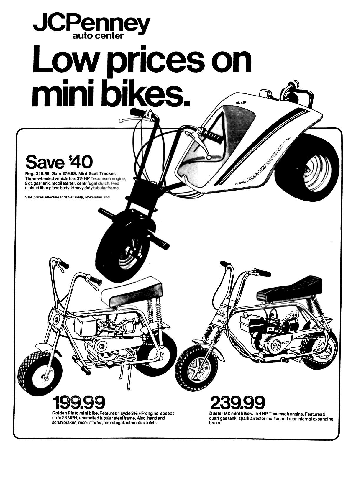 Jcpenney Mini Bikes October 1974 Minibike Mini Bike Old