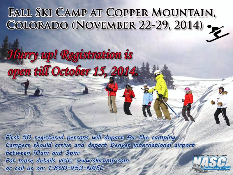 Hurry up!! Register yourself today for fall ski camp at #coppermountain colorado (November 22-29,2014)