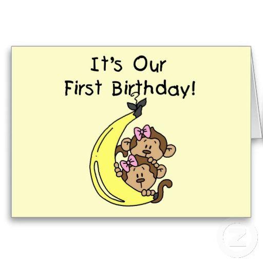 Twin Girls Banana Monkey 1st Birthday Card Zazzle Com 1st Birthday Cards Birthday Cards Birthday Cards For Twins