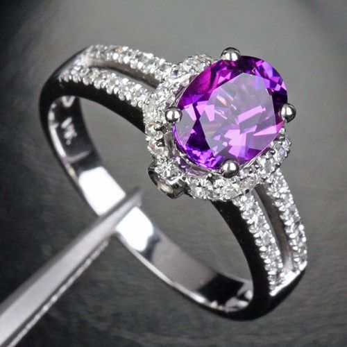 Metal Type: Solid 14k White Gold Size: 7(US) or N1/2(UK) Weight:3.72g Gemstone:Genuine Natural Amethyst Measurements:6x8mm Clarity:VS Accent Stones:Natural Diamonds Carat Weight: 0.27CT Clarity:SI C