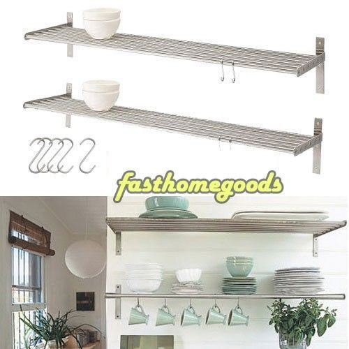 2 Kitchen Wall Shelf Stainless Steel Ikea Grundtal Pot Pan Plate
