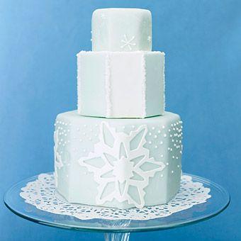Brides.com: . CakeFondant cake with sparkling sugar and gum-paste snowflakes, $7 per slice, Melissa's Fine Pastries.