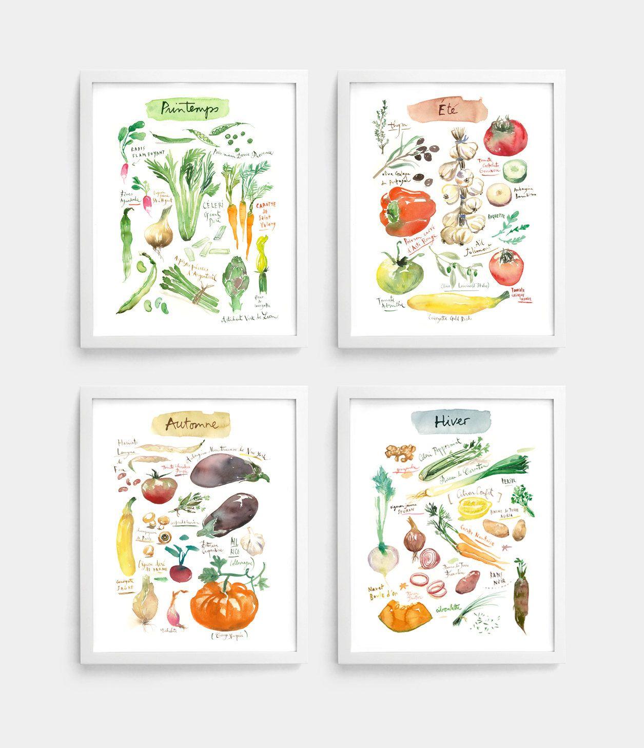 Colorful Kitchen Wall Art: 4 Seasons Wall Art, Set Of 4 Prints, Vegetable Poster Set