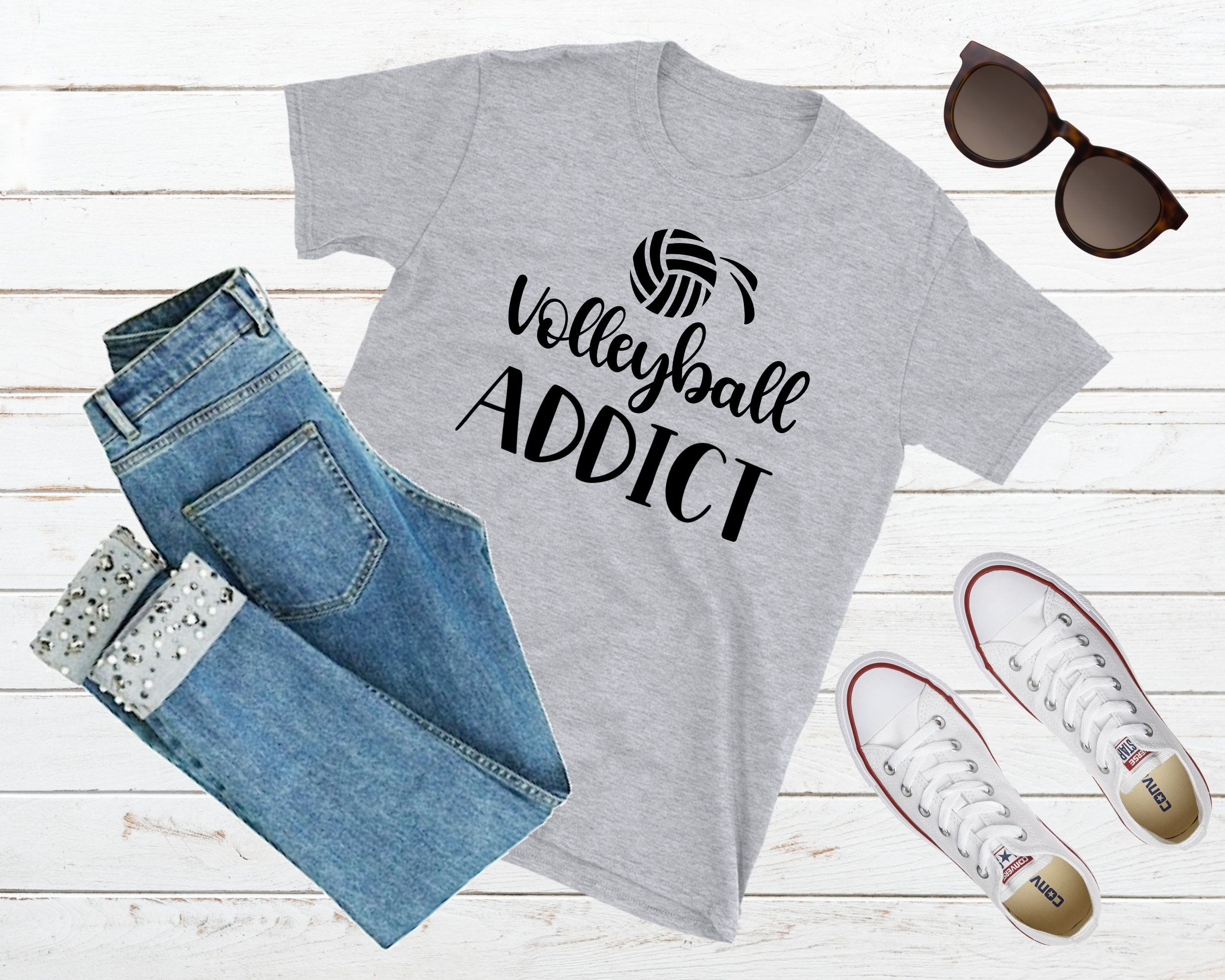 Funny Volleyball Tee Volleyball Addict I Love Volleyball Volleyball Player Shirt Volleyball Gift Volleyball Mom Shirts Sports Mom Shirts Soccer Mom Shirt
