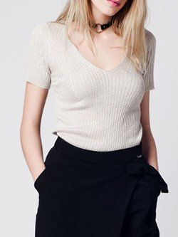 Beige Solid Knitted Scoop Neckline Short Sleeved Top