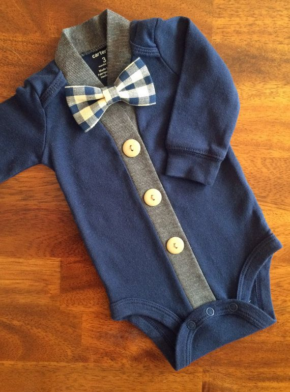 53e98c307 Baby Cardigan One Piece Bow Tie Set Navy Infant Cardigan with